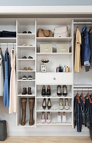 "EasyFit Closet Storage Solutions 60""-108"" W White Shoe Storage Closet Kit, White, large"