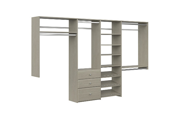 """EasyFit Closet Storage Solutions 72""""-120"""" W Weathered Gray Dual Tower Closet Kit, Weathered Gray, large"""