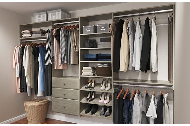 Easyfit Closet Storage Solutions 72 120 W Weathered Gray Dual Tower Closet Kit Ashley Furniture Homestore