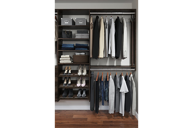 "EasyFit Closet Storage Solutions 72""-120"" W Truffle Dual Tower Closet Kit, Truffle, large"