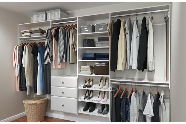 "EasyFit Closet Storage Solutions 72""-120"" W White Dual Tower Closet Kit, White, large"