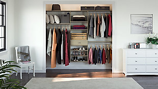 "EasyFit Closet Storage Solutions 96"" W Weathered Gray Perfect Fit Closet Kit, Weathered Gray, large"