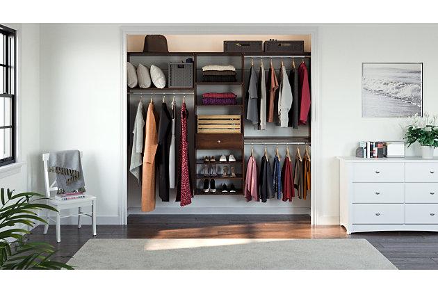 "EasyFit Closet Storage Solutions 96"" W Truffle Perfect Fit Closet Kit, Truffle, large"