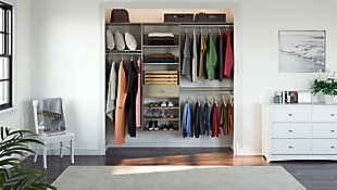 "EasyFit Closet Storage Solutions 85"" W Weathered Gray Perfect Fit Closet Kit, Weathered Gray, large"