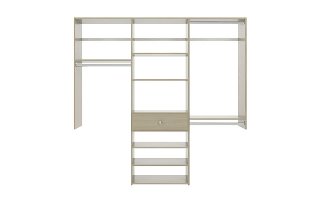 """EasyFit Closet Storage Solutions 74"""" W Weathered Gray Perfect Fit Closet Kit, Weathered Gray, large"""