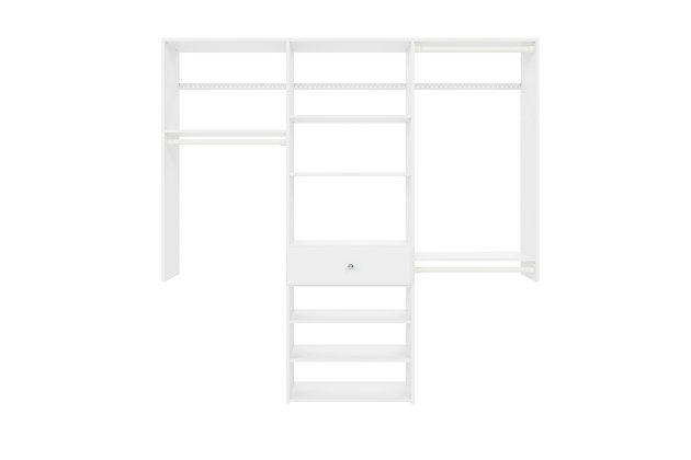 "EasyFit Closet Storage Solutions 74"" W White Perfect Fit Closet Kit, White, large"