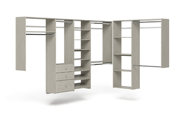 "EasyFit Closet Storage Solutions 120"" D X 84"" W Weathered Gray L-Shaped Closet Kit, Weathered Gray, large"