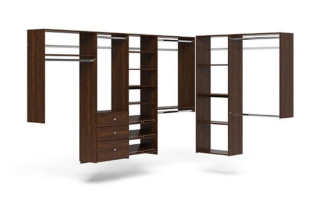 "EasyFit Closet Storage Solutions 120"" D X 84"" W Truffle L-Shaped Closet Kit, Truffle, large"