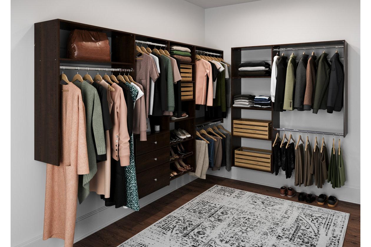 Easyfit Closet Storage Solutions 120 D X 84 W Truffle L Shaped Closet Kit Ashley Furniture Homestore