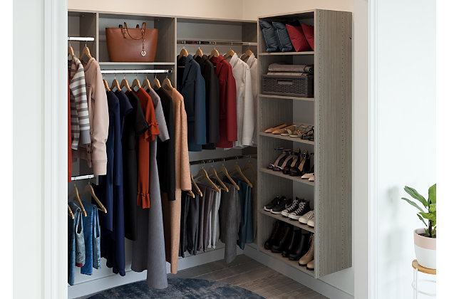 "EasyFit Closet Storage Solutions 48"" D X 96"" W Weathered Gray U-Shape Closet Kit, Weathered Gray, large"