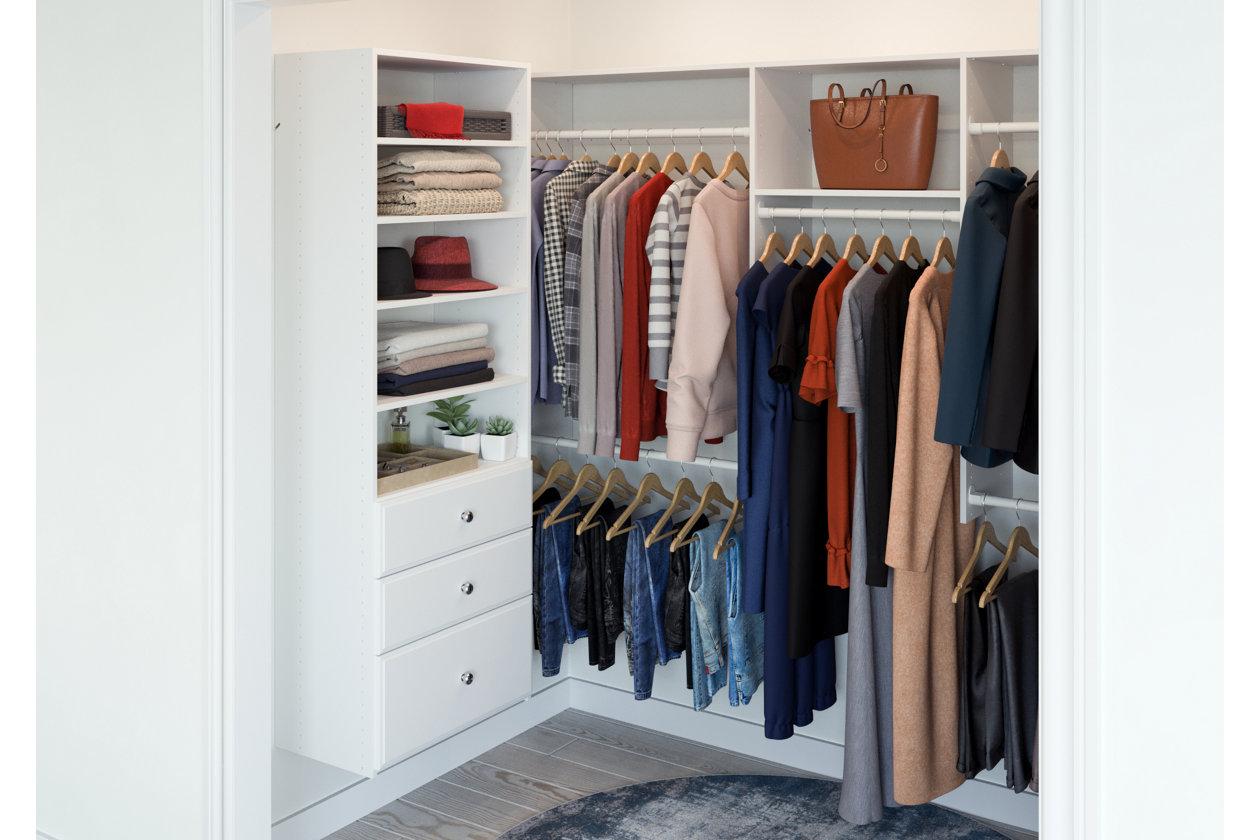 Easyfit Closet Storage Solutions 48 D X 96 W White U Shape Closet Kit Ashley Furniture Homestore