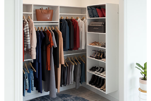 "EasyFit Closet Storage Solutions 48"" D X 96"" W White U-Shape Closet Kit, White, large"