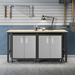 Manhattan Comfort 3-Piece Fortress Garage Cabinet and Worktable 1.0, , rollover