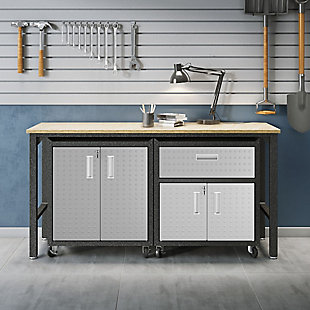Manhattan Comfort 3-Piece Fortress Garage Cabinet and Worktable 2.0, , rollover