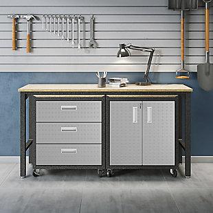 Manhattan Comfort 3-Piece Fortress Garage Cabinet and Worktable 3.0, , rollover