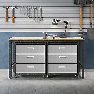 Manhattan Comfort 3-Piece Fortress Garage Cabinet and Worktable 6.0, , rollover