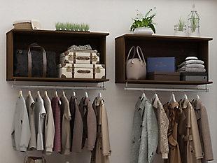 Manhattan Comfort Rockefeller 2-Piece Open Hanging Closet System, Brown, rollover