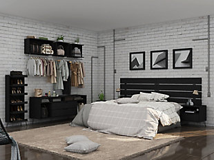 Manhattan Comfort Rockefeller 2-Piece Open Hanging Closet System, Black, large