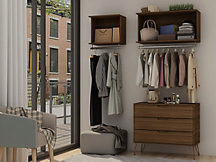 Manhattan Comfort Rockefeller 2-Piece Open Hanging Closet System, Brown, large