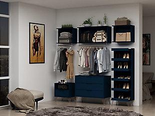 Manhattan Comfort Rockefeller 8- Piece Open Wardrobe, Blue, rollover