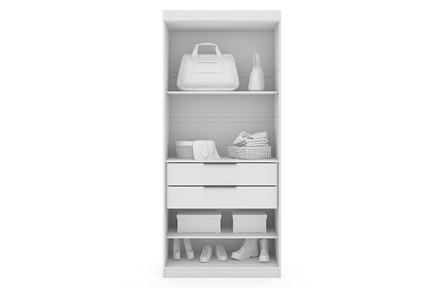 Manhattan Comfort Mulberry Open Sectional Closet, White, large