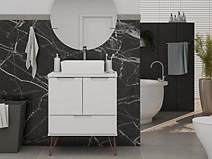 """Rockefeller  26.38"""" Bathroom Vanity Sink 1.0 in White, White, rollover"""