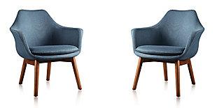Manhattan Comfort Cronkite Accent Chair (Set of 2), Blue/Walnut, large