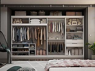Manhattan Comfort Mulberry 3-Sectional Open Closet Module Wardrobe System, White, rollover