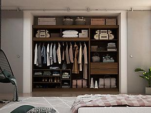 Manhattan Comfort Mulberry 2-Sectional Open Closet Module Wardrobe System, Brown, large