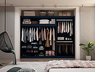 Manhattan Comfort Mulberry 2-Sectional Open Hanging Closet Module Wardrobe System, Midnight, large