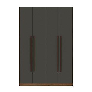 Manhattan Comfort Gramercy 2-Section Wardrobe Closet, Gray, rollover