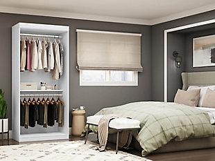 "Manhattan Comfort Mulberry 35.9"" Open Double Hanging Wardrobe Closet, White, large"