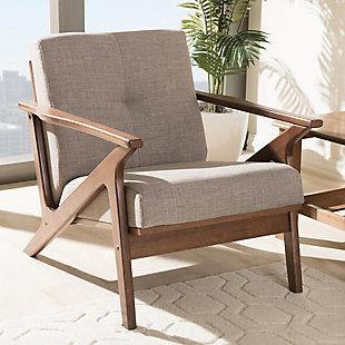 Baxton Studio Bianca Lounge Chair, Light Gray/Walnut Brown, rollover