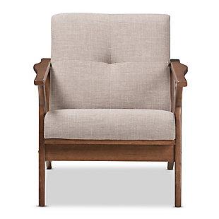 Baxton Studio Bianca Lounge Chair, Light Gray/Walnut Brown, large