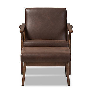 Baxton Studio Bianca Lounge Chair and Ottoman Set, , large