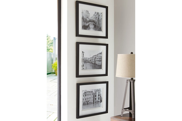 Doga Wall Art (Set of 3) by Ashley HomeStore, Black & White
