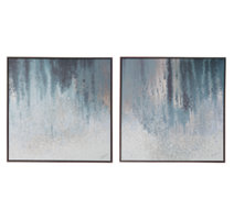 Blue/White Gallery wrapped canvas wall art with watery blue palette and abstract rendering