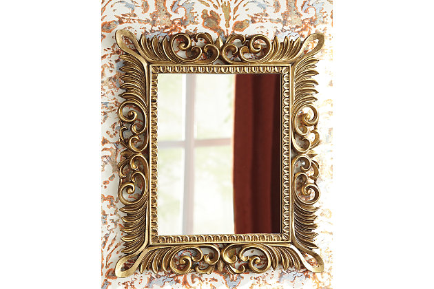 Denisha Accent Mirror by Ashley HomeStore, Gold Finish