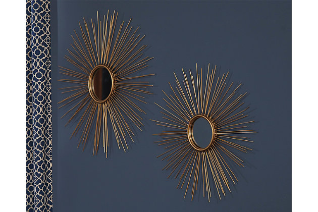 Doniel Accent Mirror (Set of 2) by Ashley HomeStore, Gold Finish