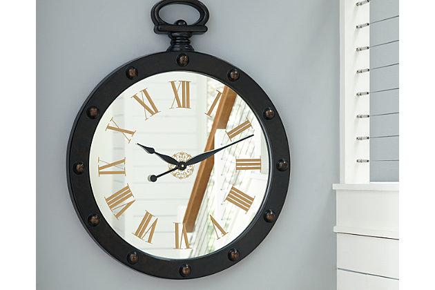 Juan Wall Clock by Ashley HomeStore, Brown
