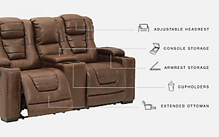 Owner's Box Power Reclining Loveseat with Console, , large