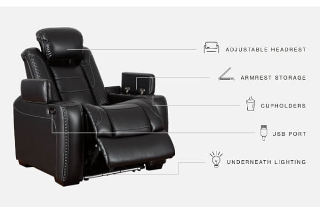 Party Time Power Recliner, Midnight, large