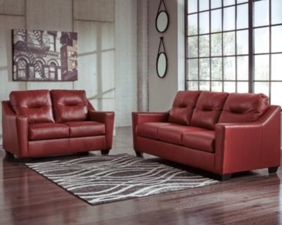 Loveseat Crimson Leather Sofa Product Photo 372
