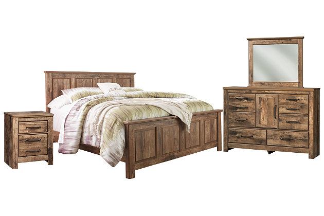 Blaneville King Panel Bed with Mirrored Dresser and Chest, Brown, large