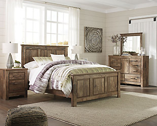 Large Blaneville 6 Piece Queen Bedroom Brown Rollover