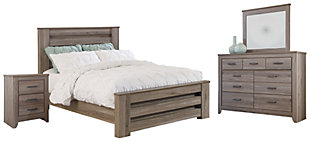 Zelen Queen Panel Bed with Dresser Mirror and Nightstand, Warm Gray, large