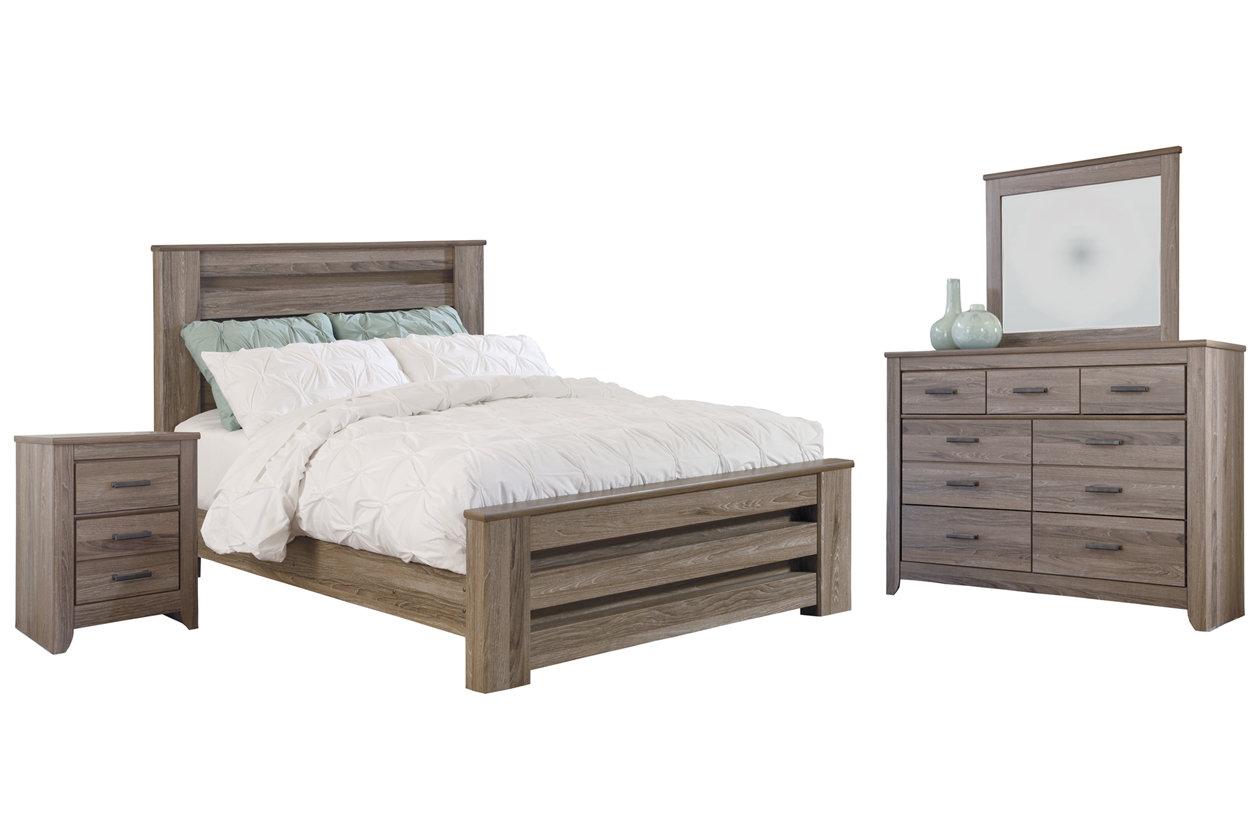 Zelen Queen Panel Bed With Dresser Mirror And Nightstand Ashley Furniture Homestore