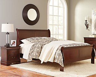Alisdair Queen Sleigh Bed with 2 Nightstands, Dark Brown, rollover