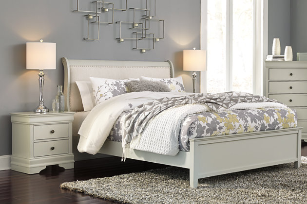 Jorstad Full Sleigh Bed with 2 Nightstands, Gray, large