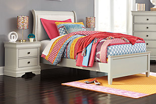 Jorstad Twin Bed with 2 Nightstands, Gray, large